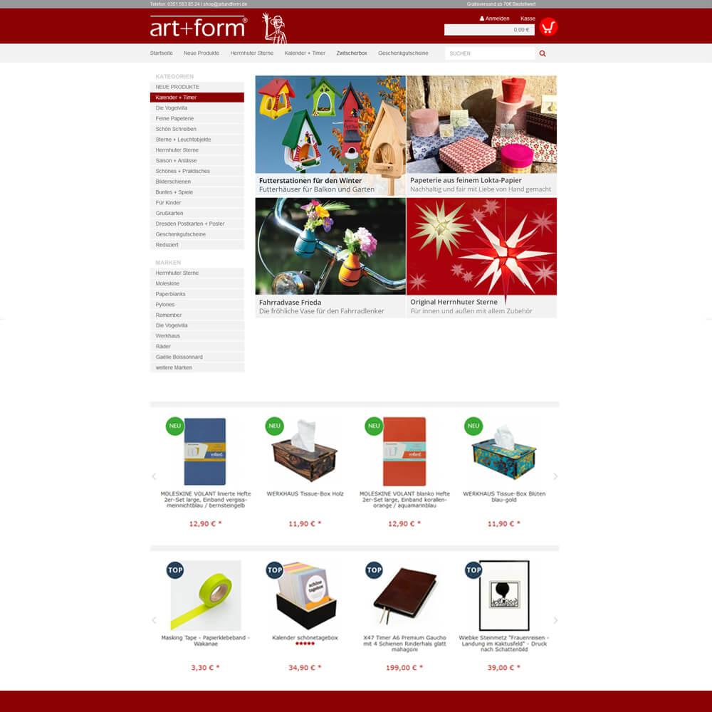 Shop auf Basis JTL Shop - artundform.de