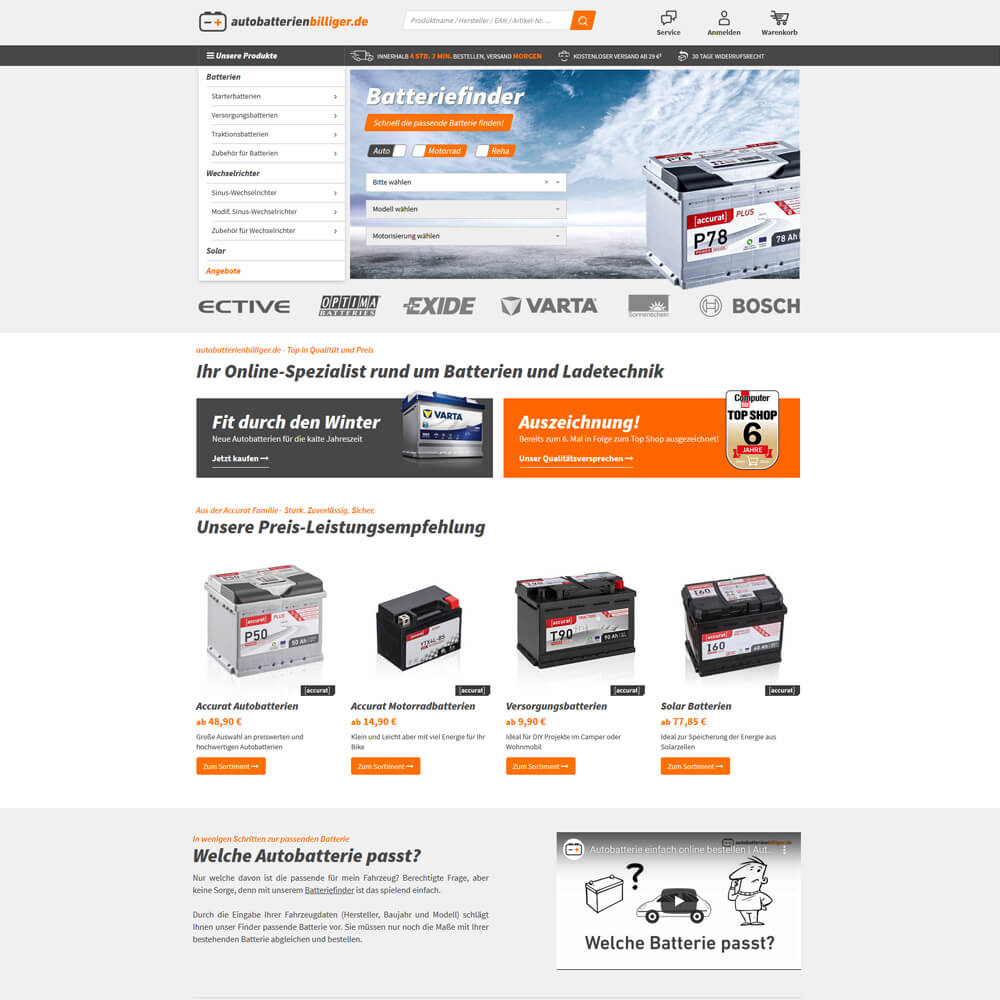 Relaunch auf JTL Shop4 - autobatterienbilliger.de