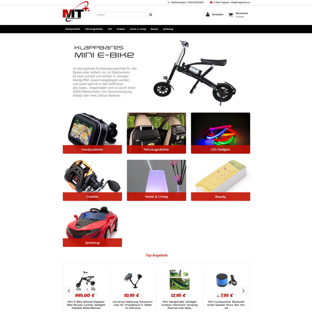 Onlineshop auf Basis von JTL Shop 4 - magictech.eu